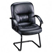 Lorell Tufted Leather Series Guest Chair