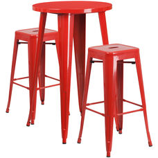 "Commercial Grade 24"" Round Red Metal Indoor-Outdoor Bar Table Set with 2 Square Seat Backless Stools"