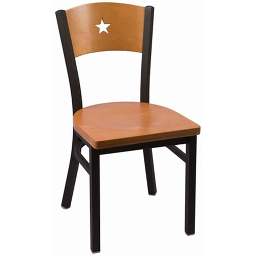Liberty Series Wood Back Armless Chair with Steel Frame and Wood Seat - Natural