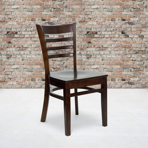 Walnut Finished Ladder Back Wooden Restaurant Chair