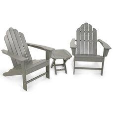 POLYWOOD® Long Island Adirondack 3-Piece Set - Slate Grey