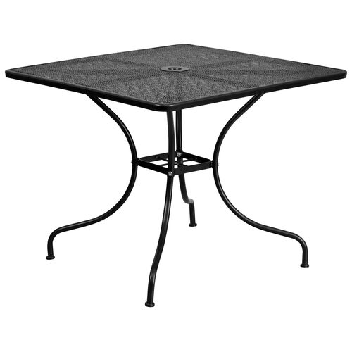 "Our Commercial Grade 35.5"" Square Black Indoor-Outdoor Steel Patio Table is on sale now."