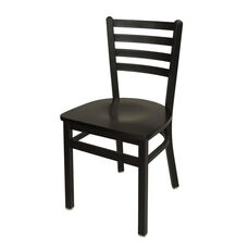 Lima Metal Ladder Back Chair - Black Wood Seat