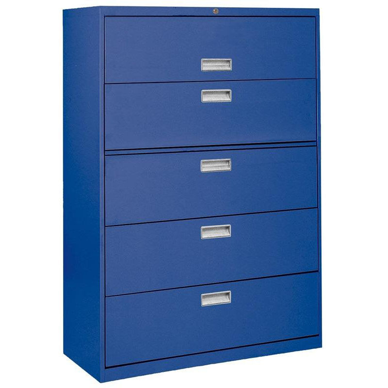 ... Five Drawer Lateral File Cabinet   Blue. Product PL 104 EEL Video; Our  600 Series 36u0027u0027 W X 19.25u0027u0027 D X 66.38u0027u0027