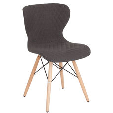 Riverside Contemporary Upholstered Chair with Wooden Legs in Dark Gray Fabric