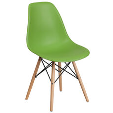 Elon Series Green Plastic Chair with Wood Base