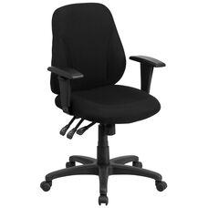 Mid-Back Black Fabric Multifunction Swivel Ergonomic Task Office Chair with Adjustable Arms