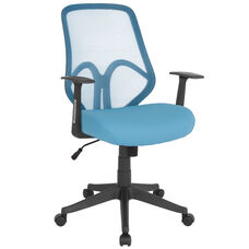 Salerno Series High Back Light Blue Mesh Office Chair with Arms