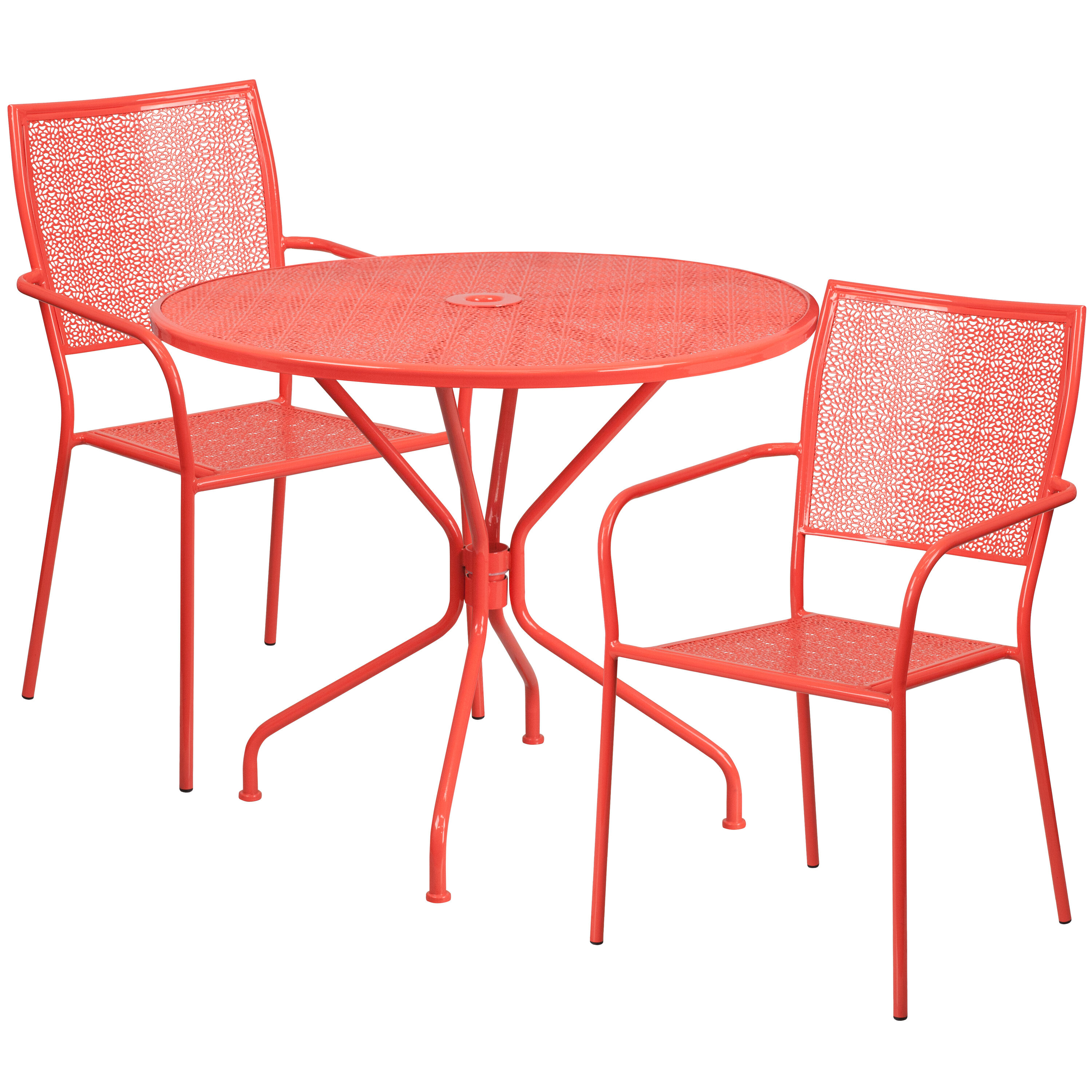 ... Our 35.25u0027u0027 Round Coral Indoor Outdoor Steel Patio Table Set With 2  Square