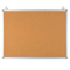 "HERCULES Series 23.5""W x 17.75""H Natural Cork Board with Aluminum Frame"