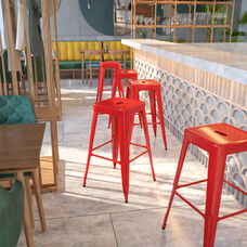 """Commercial Grade 30"""" High Backless Red Metal Indoor-Outdoor Barstool with Square Seat"""