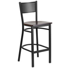 Black Grid Back Metal Restaurant Barstool with Walnut Wood Seat