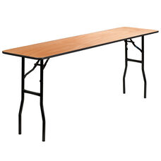 6-Foot Rectangular Wood Folding Training / Seminar Table with Smooth Clear Coated Finished Top
