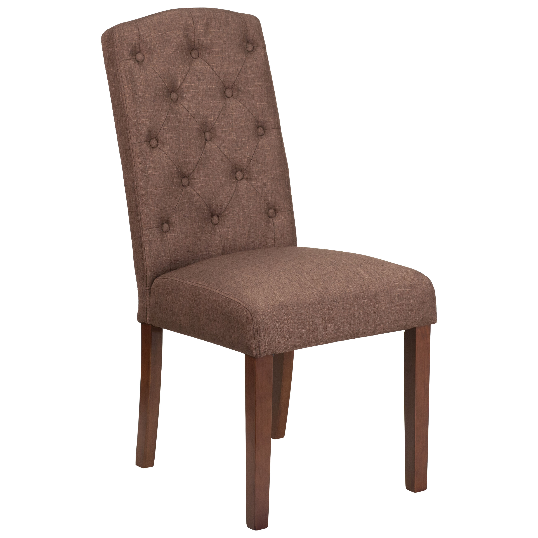 HERCULES Grove Park Series Brown Fabric Tufted Parsons Chair