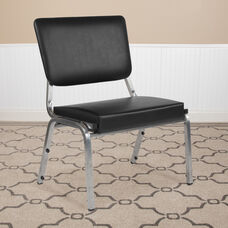 HERCULES Series 1500 lb. Rated Black Antimicrobial Vinyl Bariatric Antimicrobial Medical Reception Chair with 3/4 Panel Back