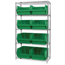 Wire Shelving Unit with 8 Magnum Bins - Green