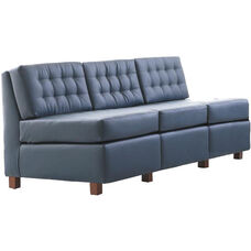 Quick Ship Himalaya Three-Seat Lounge Sofa with Wood Legs