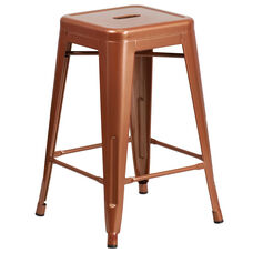 """Commercial Grade 24"""" High Backless Copper Indoor-Outdoor Counter Height Stool"""