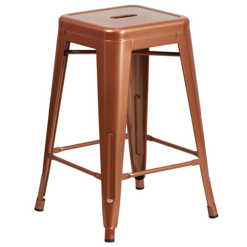"""Our Commercial Grade 24"""" High Backless Copper Indoor-Outdoor Counter Height Stool is on sale now."""