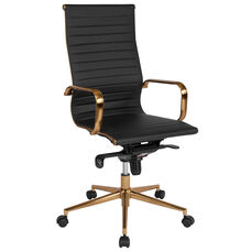 High Back Black Ribbed Leather Executive Swivel Office Chair with Gold Frame, Knee-Tilt Control and Arms