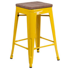 "24"" High Backless Yellow Metal Counter Height Stool with Square Wood Seat"