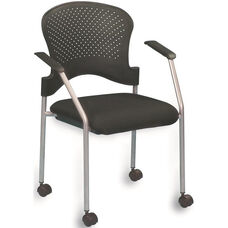 Breeze 25'' W x 21'' D x 33.75'' H Side Chair with Casters - Black with Gray Frame