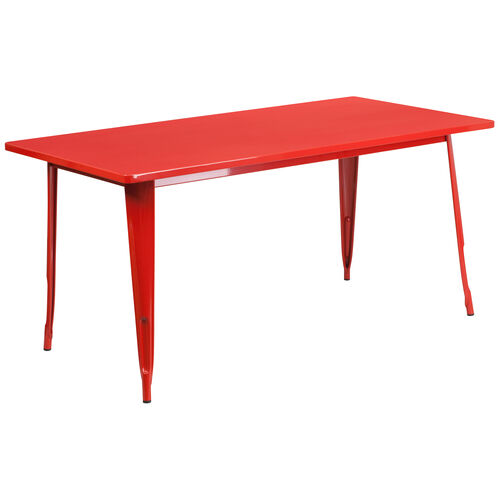 "Our Commercial Grade 31.5"" x 63"" Rectangular Red Metal Indoor-Outdoor Table is on sale now."