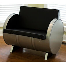 P-51 Steel Drum Armchair with Black Accents