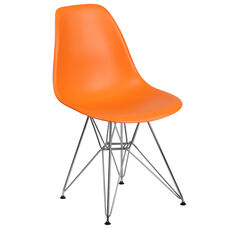 Elon Series Orange Plastic Chair with Chrome Base