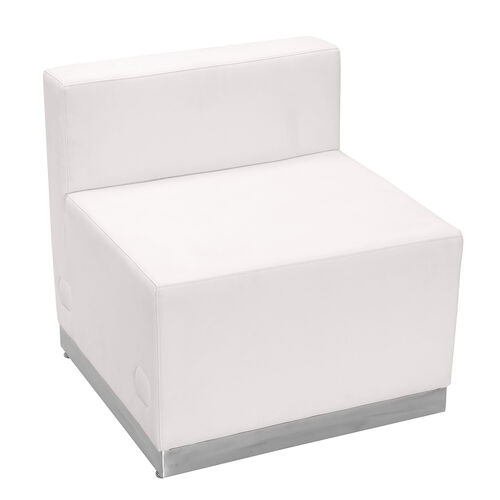 HERCULES Alon Series Melrose White LeatherSoft Chair with Brushed Stainless Steel Base