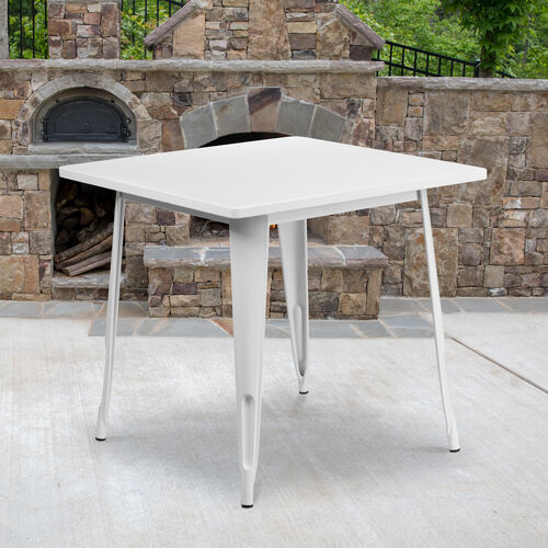 """Commercial Grade 31.5"""" Square White Metal Indoor-Outdoor Table"""