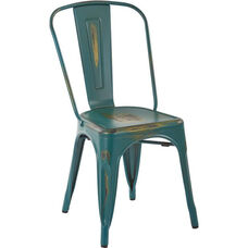 OSP Designs Bristow Stackable Armless Metal Chair - Set of 4 - Antique Turquoise