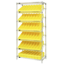 Stationary Slanted Wire Shelving with 54 Euro Drawers - Yellow