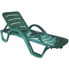 Sunrise Resin Pool Chaise Lounge with Arms and Hidden Wheels - Dark Green