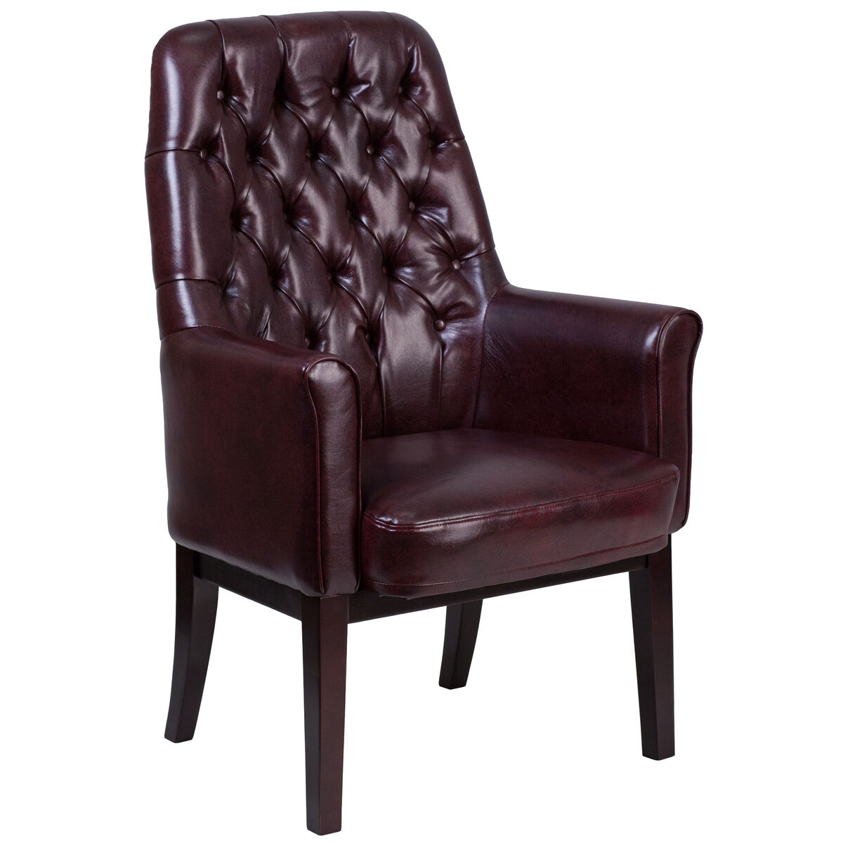 Patio Furniture Southern New Jersey: High Back Traditional Tufted Burgundy Leather Side