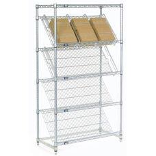 Chrome Slant Shelf Merchandiser Cart Unit