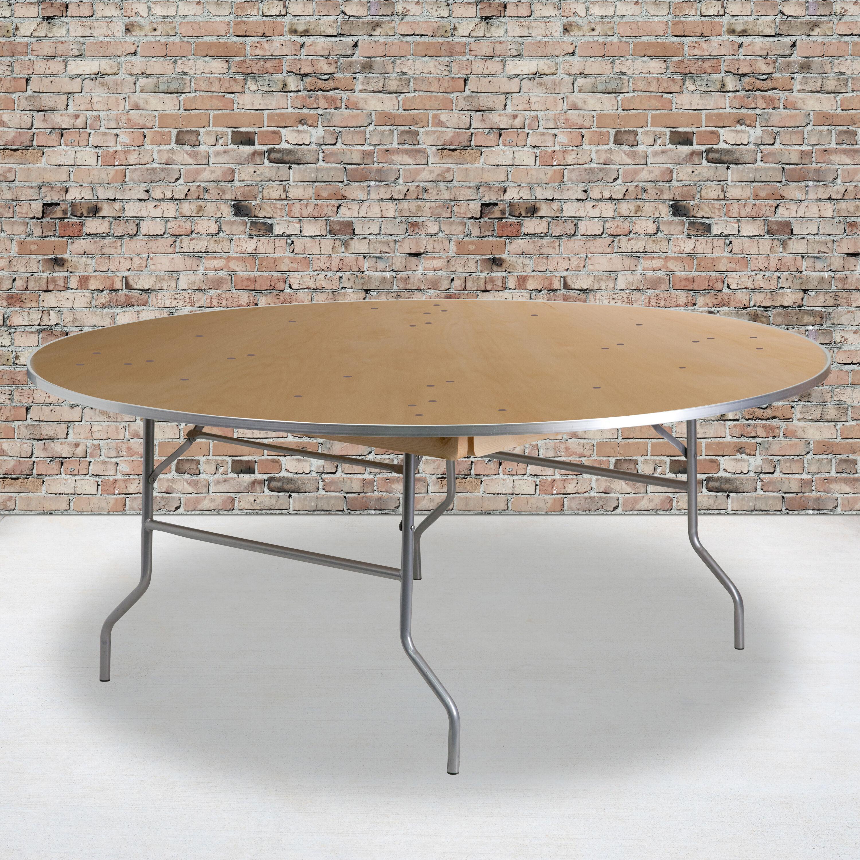 - 72RND Wood Fold Table-Met Edge XA-72-BIRCH-M-GG