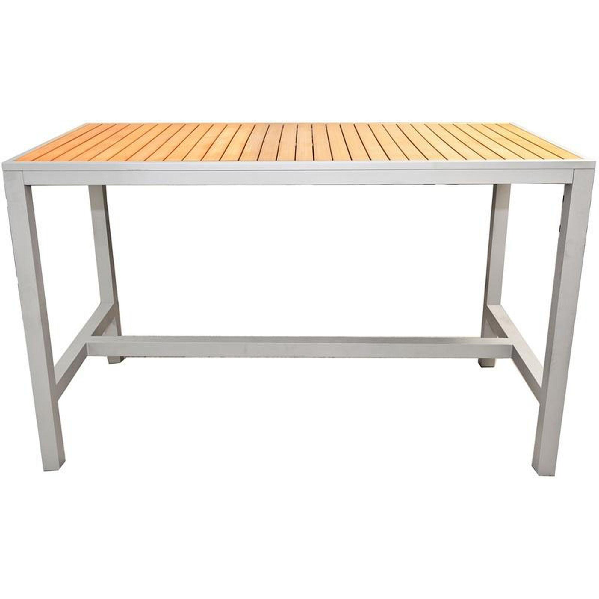 Rectangle Teak Bar Table Outdoor 36x70 Teak Inlay Bar