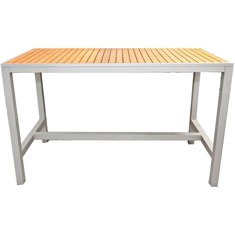 Rectangle Teak Bar Table Outdoor 36x70 TEAK INLAY BAR TABLE |  RestaurantFurniture4Less.com