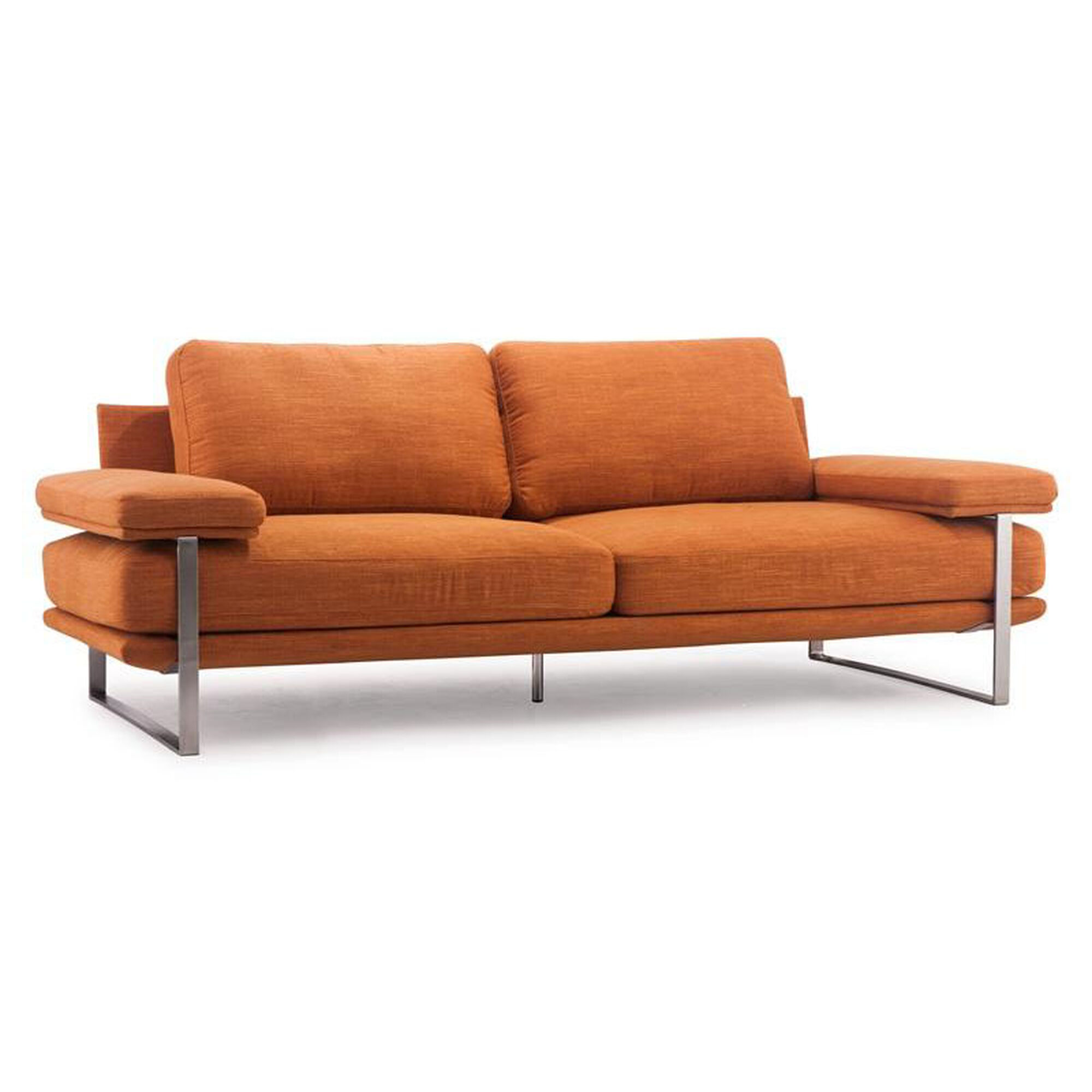 Zuo modern jonkoping sofa in sunkist orange 900625 for Furniture 4 less
