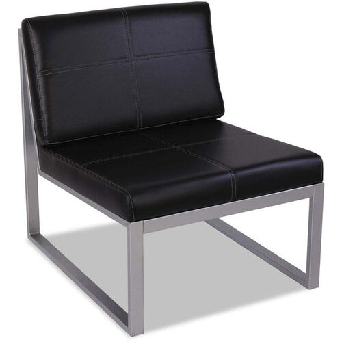 Our Alera® Ispara Series Armless Cube Chair with Heavy Duty Silver Steel Frame - Black Leather is on sale now.