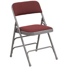 HERCULES Series Curved Triple Braced & Double-Hinged Burgundy Patterned Fabric Metal Folding Chair