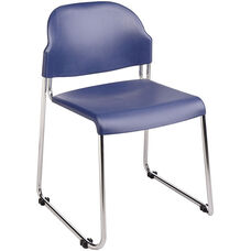 Work Smart Stack Chair with Plastic Seat and Back and Steel Frame - Set of 4 - Blue