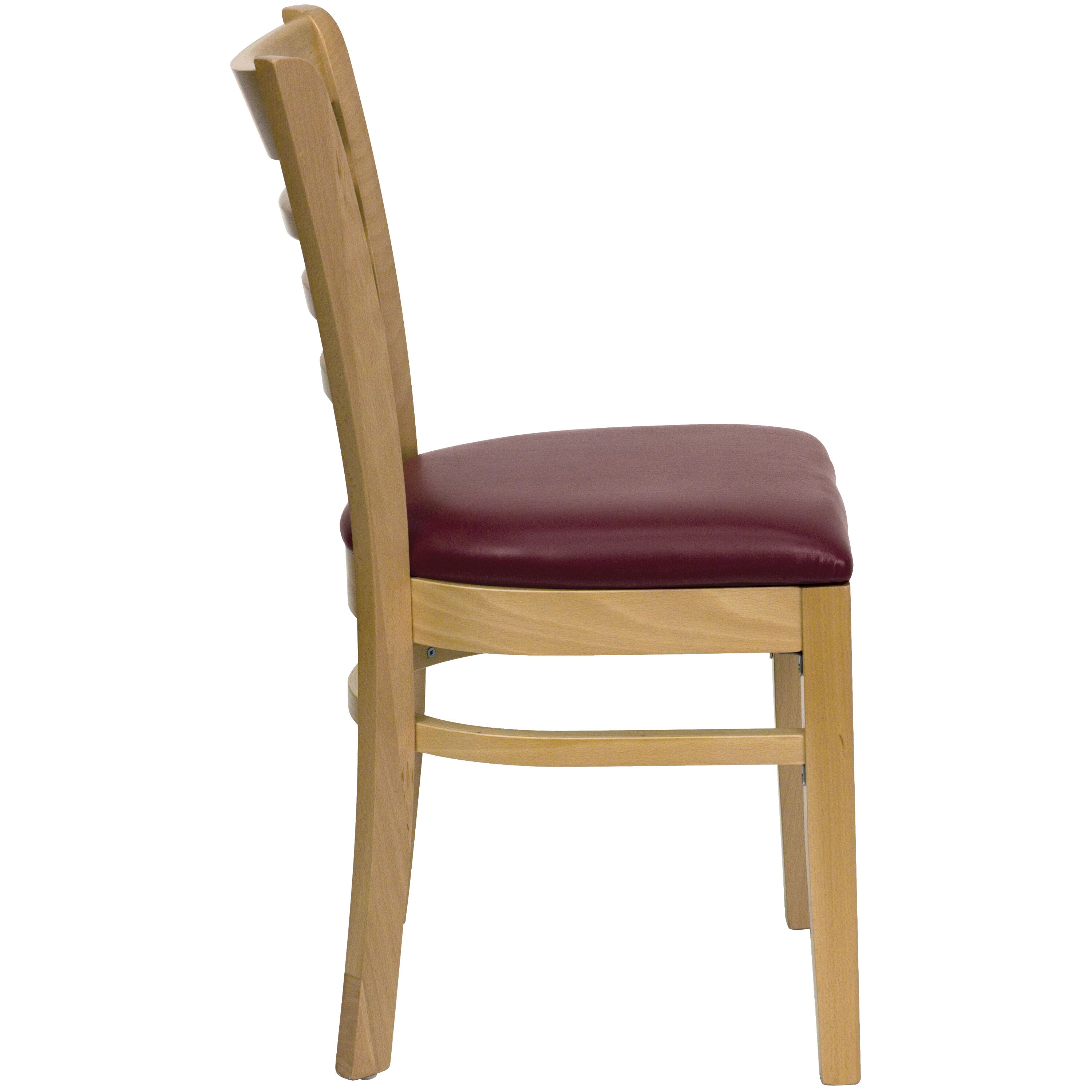 ... Our Natural Wood Finished Ladder Back Wooden Restaurant Chair With  Burgundy Vinyl Seat Is On Sale ...