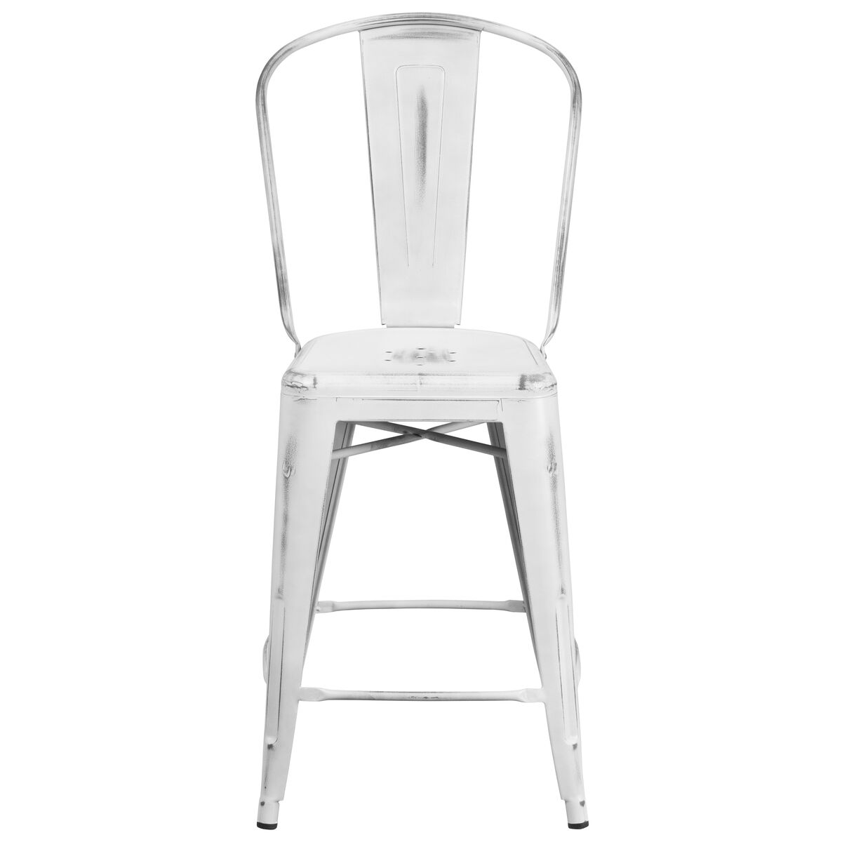 Distressed White Metal Stool Et 3534 24 Wh Gg