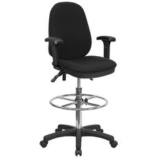 Black Multifunction Ergonomic Drafting Chair with Adjustable Foot Ring and Adjustable Arms
