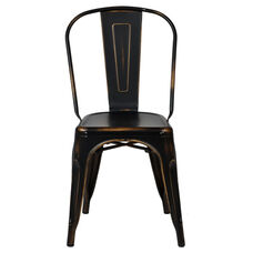 Oscar Steel Powder Coated Stackable Armless Chair - Set of 4 - Antique Black