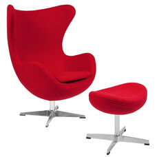 Red Wool Fabric Egg Chair with Tilt-Lock Mechanism and Ottoman