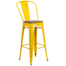 """30"""" High Yellow Metal Barstool with Back and Wood Seat"""