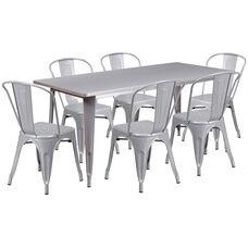 "Commercial Grade 31.5"" x 63"" Rectangular Silver Metal Indoor-Outdoor Table Set with 6 Stack Chairs"